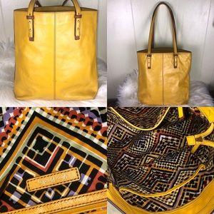 Vera Bradley Yellow Leather Tote Aztec inside zip